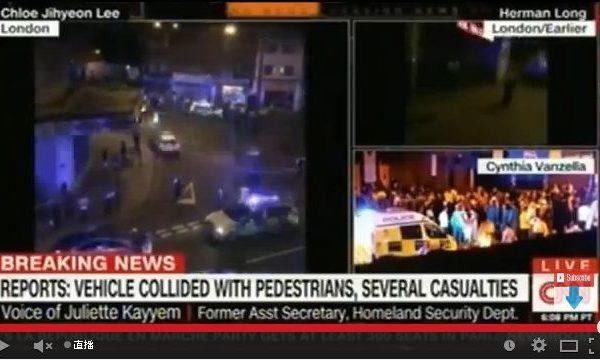 英国警方表示,当地时间周日午夜(周一凌晨)刚过,伦敦北部发生汽车冲撞行人事件,造成多人受伤。(视频截图)